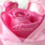 Κείμενο ημέρας του ευτυχούς βαλεντίνου στο θολωμένο υπόβαθρο με το ροδαλό λουλούδι Στοκ Εικόνες