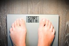 Κείμενο διατροφής έναρξης στην επίδειξη κλίμακας βάρους Στοκ Εικόνες