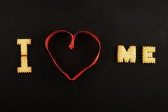 Κείμενο Ι καρδιά εγώ στο Μαύρο Στοκ Εικόνες