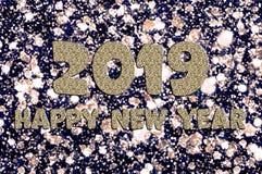 Κείμενο καλής χρονιάς 2019 του ασημένιου χρώματος στοκ εικόνα με δικαίωμα ελεύθερης χρήσης