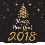 Κείμενο καλής χρονιάς 2018, χρυσό δέντρο στο μαύρο υπόβαθρο Στοκ φωτογραφία με δικαίωμα ελεύθερης χρήσης