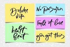 Κείμενο καλλιγραφίας για το σχέδιο γυναικών μπλουζών, θηλυκό κατάστημα Διαδικτύου Το vita εγγραφής καμπυλών dolche κανένα σύνολο  στοκ φωτογραφίες με δικαίωμα ελεύθερης χρήσης