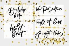 Κείμενο καλλιγραφίας για το σχέδιο γυναικών μπλουζών, θηλυκό κατάστημα Διαδικτύου Το vita εγγραφής καμπυλών dolche κανένα σύνολο  στοκ εικόνες