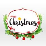Κείμενο καλλιγραφίας Χαρούμενα Χριστούγεννας στο πλαίσιο με το πράσινο φύλλο Χριστός διανυσματική απεικόνιση