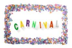 Κείμενο καρναβαλιού μέσα σε ένα πλαίσιο κομφετί καρναβαλιού Στοκ εικόνα με δικαίωμα ελεύθερης χρήσης