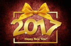 κείμενο καλής χρονιάς του 2017 χρυσό στο κόκκινο grunge backgroun διανυσματική απεικόνιση