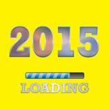 2015 κείμενο με το σύμβολο φόρτωσης στο κίτρινο υπόβαθρο Στοκ φωτογραφίες με δικαίωμα ελεύθερης χρήσης