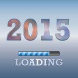2015 κείμενο με το σύμβολο φόρτωσης στο μπλε υπόβαθρο Στοκ Εικόνες