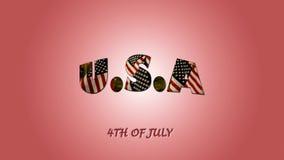 Κείμενο 4ο του Ιουλίου και της αμερικανικής σημαίας ελεύθερη απεικόνιση δικαιώματος