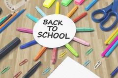 Κείμενο πίσω στο σχολείο με το στρογγυλό έγγραφο Στοκ φωτογραφία με δικαίωμα ελεύθερης χρήσης