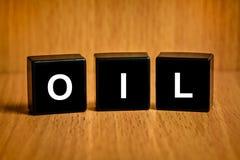 Κείμενο πετρελαίου στο μαύρο φραγμό Στοκ Εικόνες