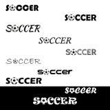 Κείμενο ποδοσφαίρου για το λογότυπο η ομάδα και το φλυτζάνι Στοκ φωτογραφία με δικαίωμα ελεύθερης χρήσης