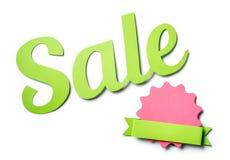 Κείμενο πώλησης και διακοσμημένο διακριτικό κύκλων με την κορδέλλα Στοκ εικόνα με δικαίωμα ελεύθερης χρήσης