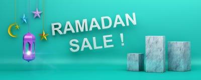 Κείμενο πώλησης Ramadan, επιγραφή Ιστού ή σχέδιο εμβλημάτων με το ημισεληνοειδές αστέρι φεγγαριών φαναριών απεικόνιση αποθεμάτων