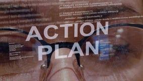 Κείμενο σχεδίων δράσης στο υπόβαθρο του θηλυκού υπεύθυνου για την ανάπτυξη απόθεμα βίντεο