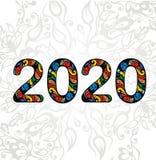 Κείμενο 2020 σύμβολο στο floral υπόβαθρο Στοκ Φωτογραφίες