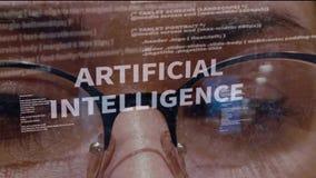 Κείμενο τεχνητής νοημοσύνης στο υπόβαθρο του θηλυκού προγραμματιστή λογισμικού απόθεμα βίντεο