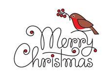 Κείμενο Χαρούμενα Χριστούγεννας με το πουλί και τον κλάδο bullfinch στοκ φωτογραφία με δικαίωμα ελεύθερης χρήσης