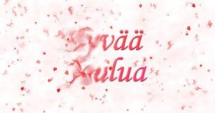 Κείμενο Χαρούμενα Χριστούγεννας στις φινλανδικές στροφές joulua Hyvaa στη σκόνη για Στοκ Εικόνες
