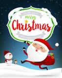 Κείμενο Χαρούμενα Χριστούγεννας του άσπρου ξύλινου πλαισίου με το ευτυχές santa Clau ελεύθερη απεικόνιση δικαιώματος