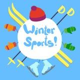 Κείμενο χειμερινού αθλητισμού απεικόνιση αποθεμάτων