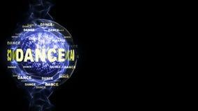 Κείμενο ΧΟΡΟΥ γύρω από τη σφαίρα Disco, υπόβαθρο, ηλεκτρονική γραφιστική, Στοκ εικόνες με δικαίωμα ελεύθερης χρήσης