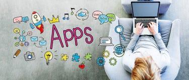 Κείμενο Apps με το άτομο Στοκ εικόνες με δικαίωμα ελεύθερης χρήσης