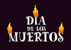 Κείμενο dia de Los muertos με το κάψιμο των κεριών τη σκοτεινή ημέρα υποβάθρου των νεκρών ελεύθερη απεικόνιση δικαιώματος