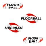 Κείμενο Floorball για το λογότυπο η ομάδα και το φλυτζάνι Στοκ φωτογραφία με δικαίωμα ελεύθερης χρήσης