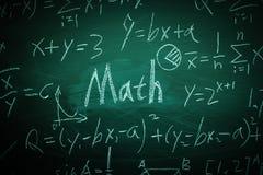 Κείμενο Math με μερικούς τύπους στον πίνακα κιμωλίας Στοκ Εικόνες