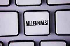 Κείμενο Millennials γραψίματος λέξης κινητήρια κλήση Επιχειρησιακή έννοια για την παραγωγή Υ το γεννημένο από το 1980 s σε 2000s  Στοκ φωτογραφία με δικαίωμα ελεύθερης χρήσης