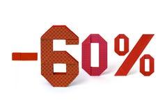 Κείμενο Origami της πώλησης έκπτωσης 60 τοις εκατό Στοκ φωτογραφία με δικαίωμα ελεύθερης χρήσης