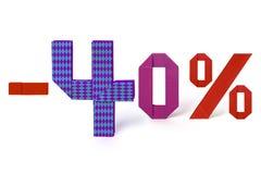 Κείμενο Origami της πώλησης έκπτωσης 40 τοις εκατό Στοκ Εικόνες