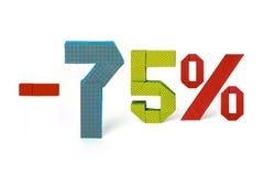 Κείμενο Origami της πώλησης έκπτωσης 75 τοις εκατό Στοκ Εικόνα