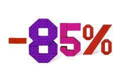 Κείμενο Origami της πώλησης έκπτωσης 85 τοις εκατό Στοκ Εικόνα