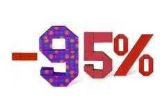 Κείμενο Origami της πώλησης έκπτωσης 95 τοις εκατό Στοκ Εικόνες