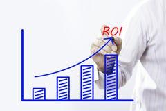 Κείμενο ROI με το χέρι του νέου επιχειρηματία στοκ φωτογραφία με δικαίωμα ελεύθερης χρήσης