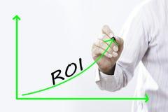 Κείμενο ROI με το χέρι του νέου επιχειρηματία στοκ εικόνες