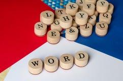 Κείμενο WORD στα ξύλινα γραμματόσημα Στοκ Φωτογραφία