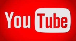 Κείμενο Youtube με το εικονίδιο λογότυπων διανυσματική απεικόνιση