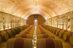κελαριών βαρέλια κρασιού σειρών Στοκ Εικόνες