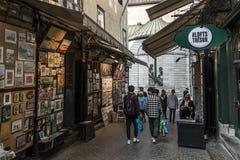 Κεμπέκ Καναδάς 13 09 2017 καλλιτέχνες έκθεσης τέχνης οδών με τα έργα ζωγραφικής για την παλαιά πόλη του Κεμπέκ τουριστών Στοκ Φωτογραφίες