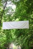 Κενά άσπρα πράσινα δέντρα εμβλημάτων πινάκων στοκ εικόνα με δικαίωμα ελεύθερης χρήσης