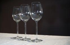 κενά γυαλιά τρία κρασί Στοκ φωτογραφία με δικαίωμα ελεύθερης χρήσης