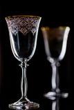 Κενά γυαλιά κόκκινου κρασιού στο μαύρο υπόβαθρο Στοκ εικόνες με δικαίωμα ελεύθερης χρήσης