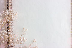 Κενά ηλικίας έγγραφο και λουλούδια Στοκ Εικόνες