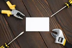 Κενά κάρτα και εργαλεία Στοκ Εικόνα