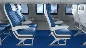 Κενά καθίσματα αεροπλάνων στο σύγχρονο εσωτερικό αεροπλάνων Εσωτερικό του σύγχρονου αεροπλάνου με τους επιβάτες στα καθίσματα φιλμ μικρού μήκους