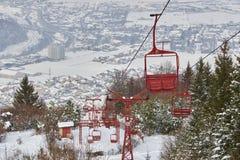 Κενά παλαιά ξύλινα chairlifts στοκ φωτογραφίες με δικαίωμα ελεύθερης χρήσης