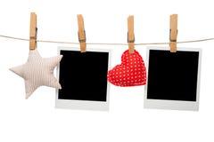 Κενά πλαίσια αστεριών καρδιών φωτογραφιών polaroid Στοκ φωτογραφία με δικαίωμα ελεύθερης χρήσης